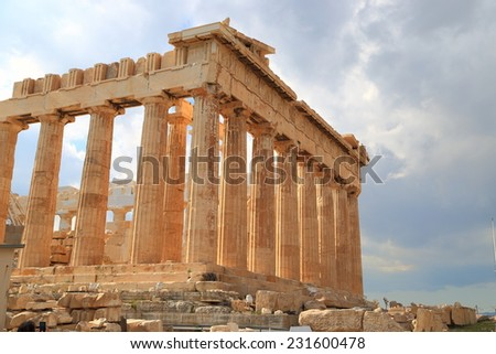 Cloudy sky above ancient Parthenon on the Athenian Acropolis, Greece - stock photo