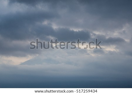 Cloudy Sky and Top of Fuji Mountain, Bad Weather