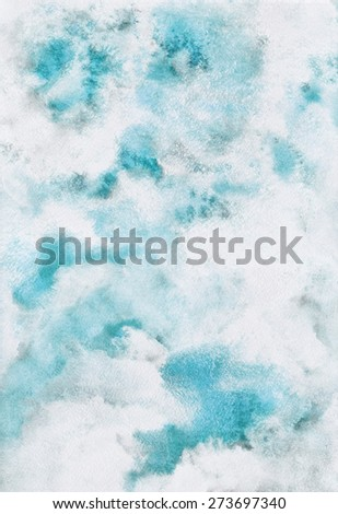 Cloudy sky illustration. Abstract watercolor background. Heaven with clouds. Blue sky, shades of white. Painted backdrop. Fresco imitation. Raster version. - stock photo