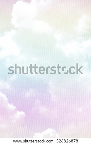 cloudy sky on canvas texture - made soft multicolor pastel background