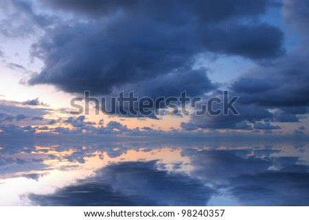 Cloudy sky on the sea