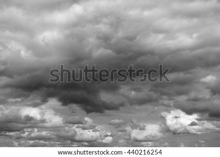 Cloudy sky over horizon. Gray clouds before a thunderstorm. - stock photo