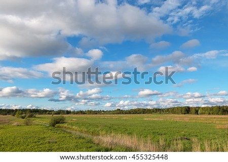 Cloudy sky over the green field at spring - stock photo