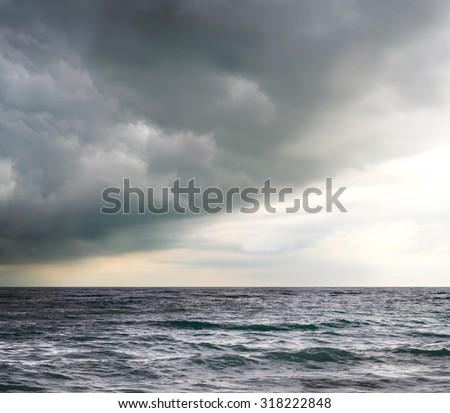 Cloudy sky over the sea - stock photo