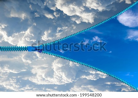 Cloudy sky with a zipper opening on blue sky - stock photo