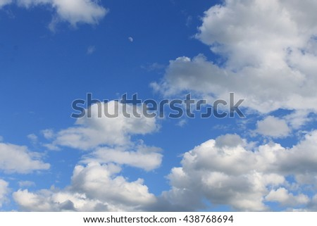 cloudy sky with the moon - stock photo
