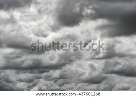 Cloudy stormy black and white dramatic sky background, Dark ominous grey storm clouds, Abstract dark background, The rain clouds were formed, Dark clouds - stock photo