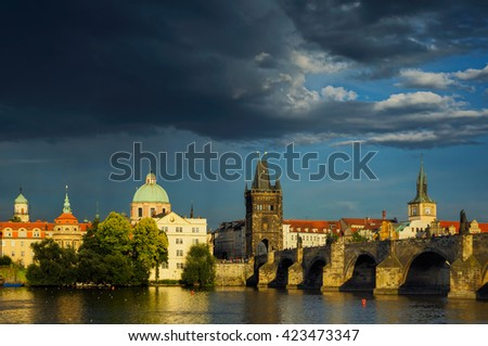 Cloudy summer day near Charles Bridge in Prague, Czech republic