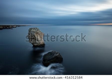 Cloudy sunrise at Tyulenovo village, Bulgaria - stock photo
