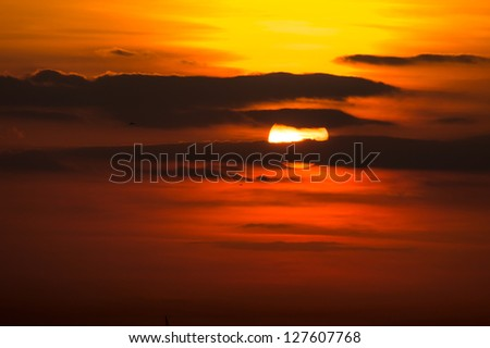 Cloudy Sunset - stock photo