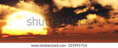 cloudy sunset background 3d illustration