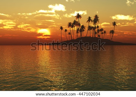 cloudy sunset over the tropical sea with the palm trees on island - stock photo