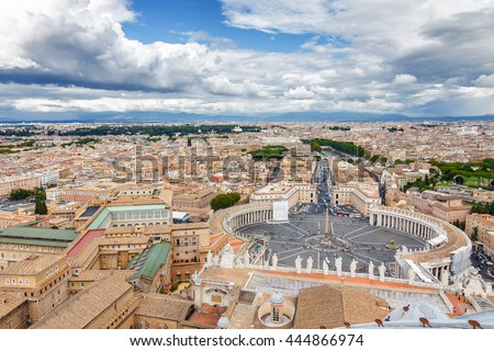 Cloudy view of Vatican and Rome from the top of the dome of St Peter's Basilica, Lazio region, Italy.