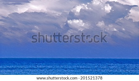 cloudy weather over sea  -  illustration