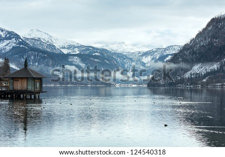Cloudy winter Alpine  lake Grundlsee view (Austria) - stock photo