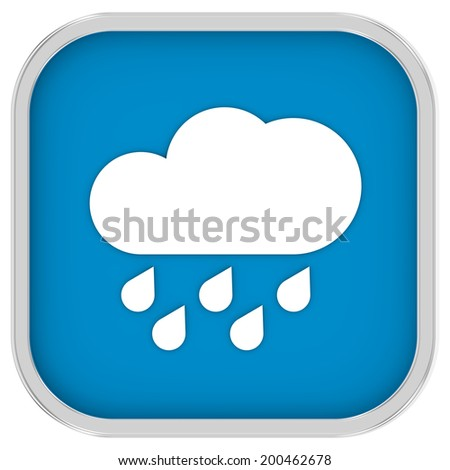 Cloudy with considerable amount of rain sign on a white background. Part of a series.  - stock photo