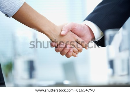 Clouse-up of businessman and  businesswoman shaking hands - stock photo