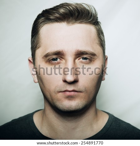 Clouseup portrait of man's face - stock photo