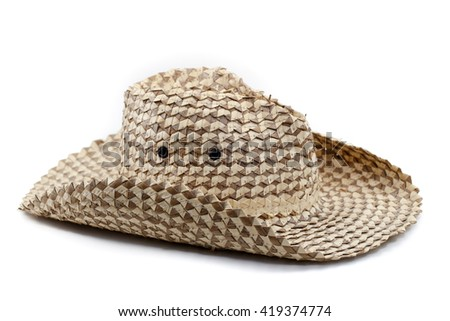 clouseup straw hat isolate on white background