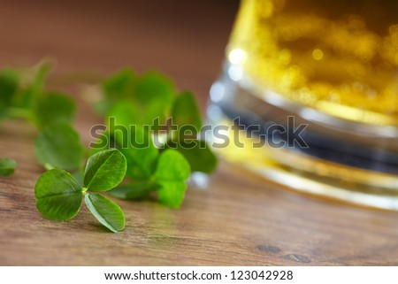 clover and beer - stock photo