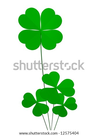 clover four leafs, luck and fortune - stock photo