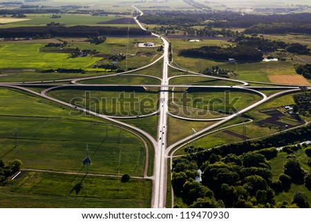 Clover overpass, view from above, Lithuania - stock photo