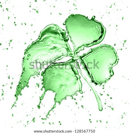 Clover with four leaves made of water splash - stock photo