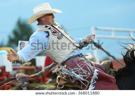 CLOVERDALE, CANADA - MAY 20, 2013: A cowboy competes in the annual Cloverdale Rodeo in Cloverdale, BC, Canada, May 20, 2013. - stock photo