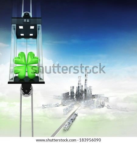 cloverleaf happiness in sky space elevator concept above city illustration - stock photo