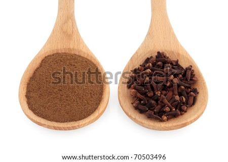 Cloves spice whole and in powder form in two wooden spoons, over white background. Used for culinary and in alternative herbal remedies, renowned for curing toothache. Selective focus.