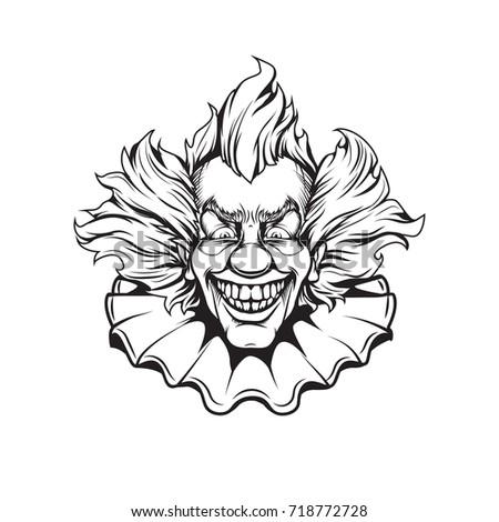 Evil Clown Halloween Illustration Stock Vector 717654982