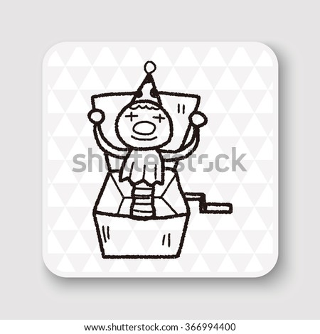 clown box doodle - stock photo