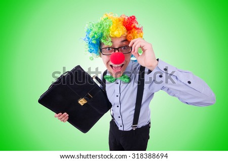 Clown businessman isolated on white - stock photo