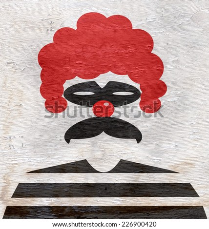 clown design with wood grain texture - stock photo