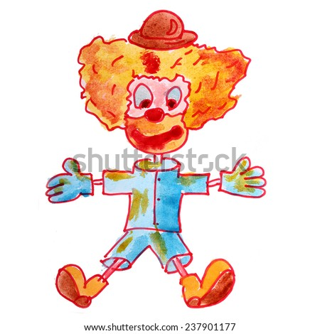 clown drawing watercolor isolated on white background