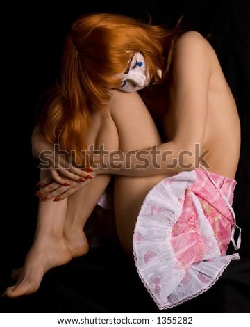 clown face topless girl - stock photo