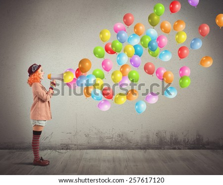 Clown funny and creative screams colorful balloons - stock photo
