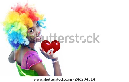 Clown Girl Holding a Red Heart with Available Space at Right