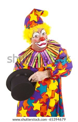 Clown has lost his arm, reaching deep inside his magic top hat.  Isolated.