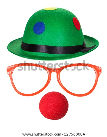 Clown hat with glasses and red nose isolated on white background - stock photo
