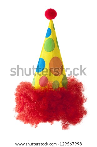 Clown hat with red hair isolated on white background - stock photo