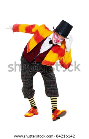 clown is greeting. isolated on white background - stock photo