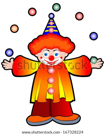 Clown Juggler with balls - Stock Illustration - stock photo