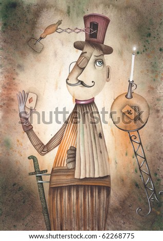 Clown magician - stock photo