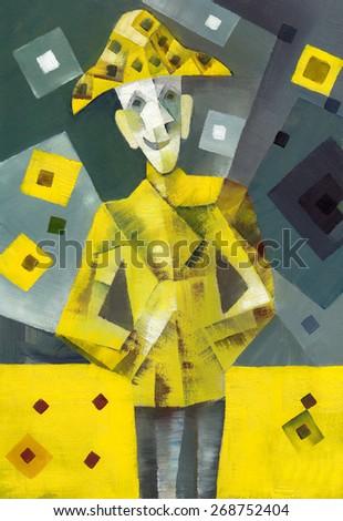 Clown. Original oil painting - stock photo