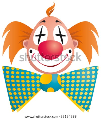Clown portrait isolated on white background - raster version - stock photo
