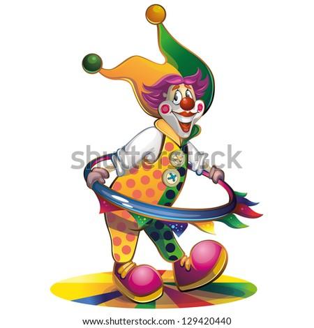Clown spinning hoop - stock photo
