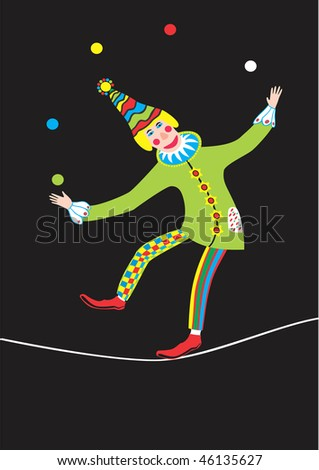Clown stands on rope and juggles with balls - stock photo