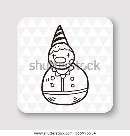 clown toy doodle - stock photo