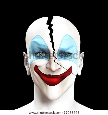 Clown whose head has split apart. - stock photo